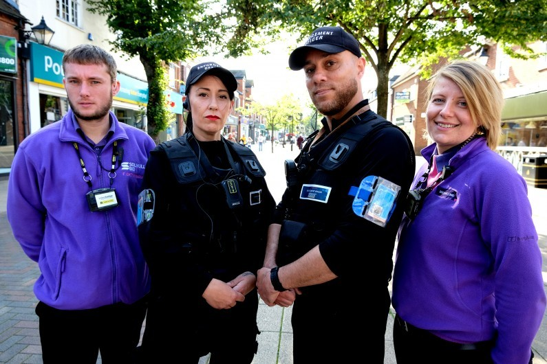 Solihull BID s Enforcement Officers Liz and Jason centre with the BID s Town Hosts Frank Cattermole and Emma Turnbull
